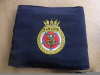 HMS Lancaster cummerbund. Plain blue on reverse.