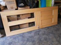 Internal Oak Veneer Door in good condition, 2 windows and 2 panels, Used