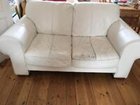 White leather two seater sofa & chair FREE