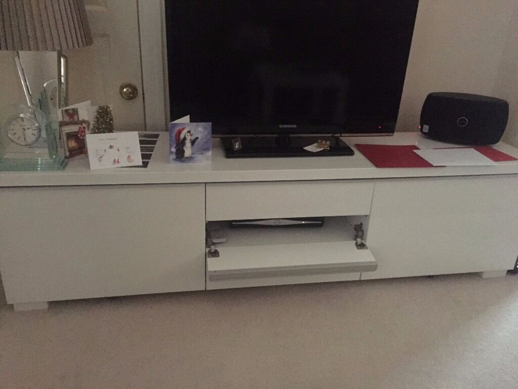 Ikea White High Gloss Besta Range Tv Unit