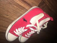 Red Ralph Lauren women's trainers