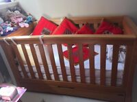 Mamas and Papas Solid Wood Cot Bed with drawer