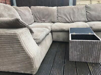 Lovely jumbo cord corner sofa + storage box - Can deliver
