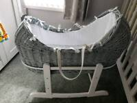 Moses Basket Grey Used For 2 Weeks LIKE NEW RRP £100