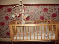 Mothercare Swinging Crib ,Bedding,Mattress & Toys