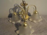 Light Fitting Three Arm Brass Coloured