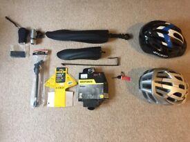 Bicycle equipment: Mud guards, helmets, locks, torches, etc