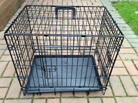 Dog Crate - Brand New - Black + Under Tray, 2 doors with secure locking + free puppy pads