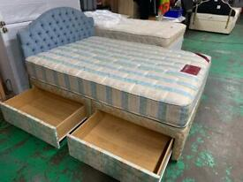 Double divan bed with 4 draws plus good quality matress and headboard