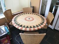Mosaic Table and wicker chairs