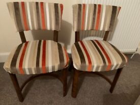 2 x Art Deco striped upholstered chairs