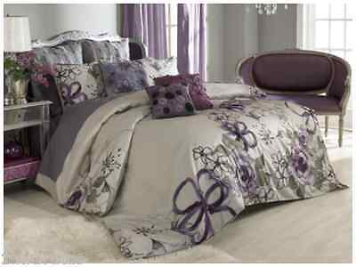 VUE Provence Girls Duplicate Duvet Set Shabby Chic Sheer Floral Anastasia Purple Gray