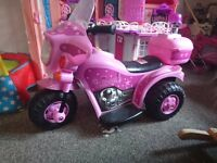 Pink Battery Trike 25 never used n pink barbie Castle with accessories 15 quite big size