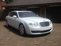 White Bentley Continental Flying Spur Wedding Car Hire, Proms, Airport transfer Car for all events