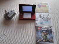 FLAME RED 3DS CONSOLE BUNDLE,ZELDA,LEGO STAR WARS lll,NINTENDOGS + CATS + CHARGER