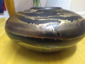 LARGE HAND MADE , ART POTTERY VASE BY ASL CERAMICS, IN GOLD AND BLACK DESIGN
