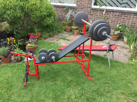 Multigym bench and weights Inclined Bench
