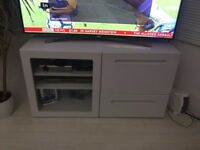 White TV stand with storage