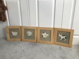 Lovely Farmyard Pictures, set of 4.