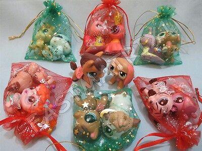 Littlest Pet Shop Lps Lot 3 Random Walkables Dog Cat Horse and Surprise Gift Bag