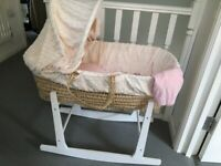 Moses Basket with Matress, sheets, liner, hood, and Rocking Stand