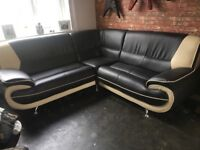 BROWN CREAM FAUX LEATHER 5 SEAT CORNER SOFA