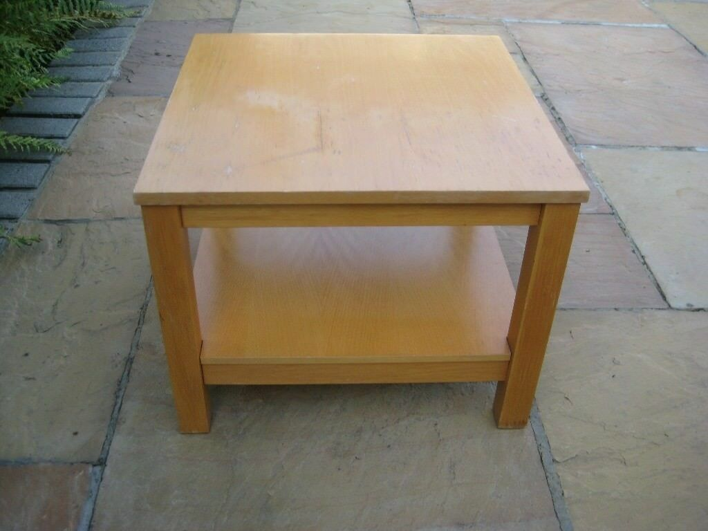 Solid Wood Square Coffee Table with Low Set Shelf
