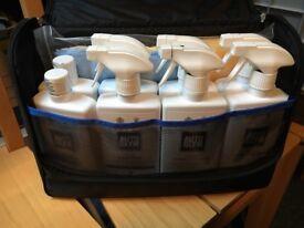 VW AutoGlym LifeShine car cleaning kit: leather, wheels, vinyl, shampoo, wax, glass.