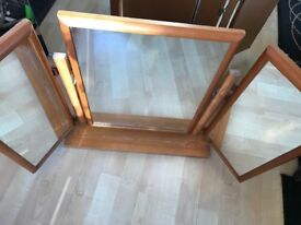 3 way dressing table mirror. Honey coloured. Square and simple