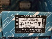 PHILLIPS TWIN THREAD SCREWS ZINC PLATED