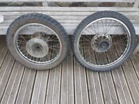 DT 125 front and rear wheels with tyres from 1989 model