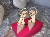 Valentino inspired studded nude court heels