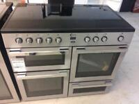 Silver flaval bran new 100cm ceramic hob electric cooker grill & double fan assisted ovens with
