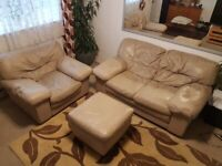 Beige real Italian really soft leather two seater sofa + armchair + footstool.