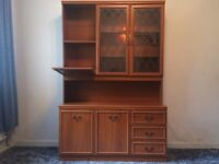 Sideboard dresser with glass display cabinet and lights