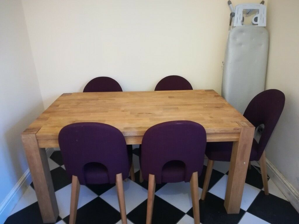 Solid Oak Dining Table 6 Purple Chairs