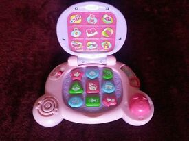 Vtech Baby's First Laptop in Pink & Lilac, Multi-activity with 2 Volume Settings, Batteries Included
