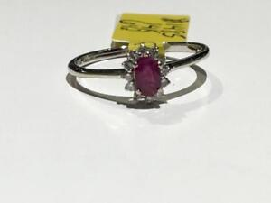 #1485 14K LADIES SINGLE RUBY SURROUNDED BY DIAMONDS *SIZE 6 1/2* JUST BACK FROM APPRAISAL AT $1450.00!