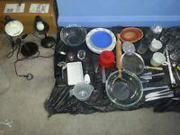 Kitchenware + small cabinet + 2 desk lamps for sale