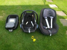 Maxi-cosi, family fix base, pebble and pearl seats,