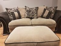 Very Comfy excellent condition 3 Piece Suite.. 3 seater sofa, 2 seater sofa,footstool