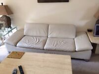 leather sofa and tv stand