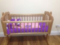 Mothercare swinging crib - natural