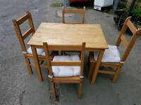 Dining Table & Chairs - Quality Light Pine Dining Table with 4 Chairs