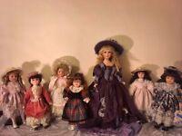 7 Beautiful porcelain dolls eg.Promenade collection/Knightsbridge collection/dolls house collection