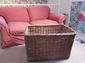 Large Vintage Wicker Basket Storage