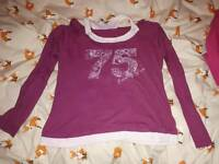 Dark pink & white long-sleeved top with cutouts