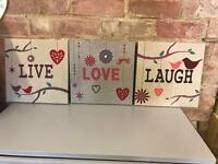 Hessian canvas 3 pictures Live Love Laugh