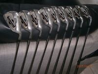 FULL SET OF SPALDING GOLF CLUBS-PARADOX IRONS-3to9 plus PITCHING AND SAND WEDGE IN GOOD CONDITION