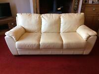 Italian leather 3 seater sofa-cream
